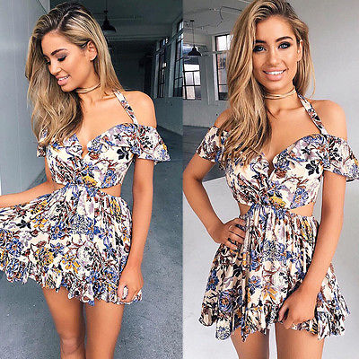New Fashion Women Summer Flowers Floral Off Shoulder Bodycon Casual Party Evening Mini Dress in Dresses from Women 39 s Clothing