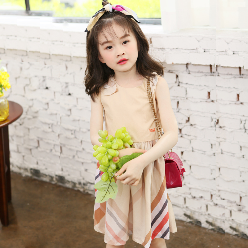 2016 Cotton breathable bow stripe letter embroidery knee length summer apricot dress casual baby girl clothes