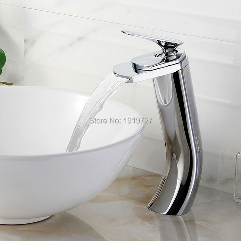 2016 Factory Direct 100% Brass Modern Design Ceramic Plate Spool Faucet High Quality Chrome Bathroom Waterfall Sink Mixer Tap factory direct wholesale promotion new luxury high quality modern chrome twin lever swivel spout monobloc kitchen sink mixer tap