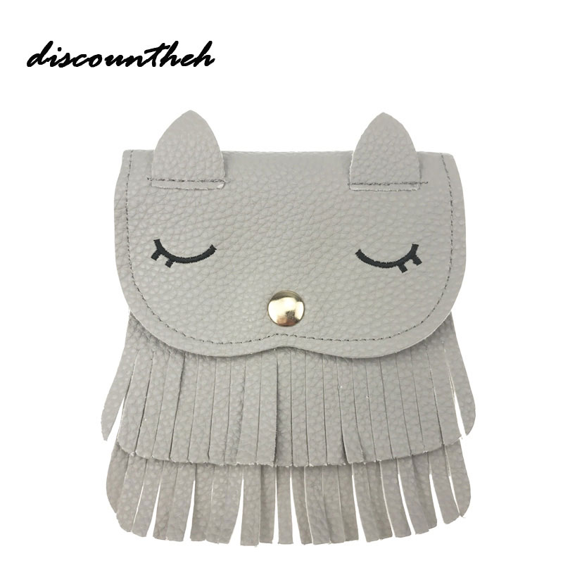 2017 New Children Smile Face Embroidery Coin Purse Messenger Bag Baby Girls Cat Ear Coin Purse Red Cute Bags For Kids Gifts