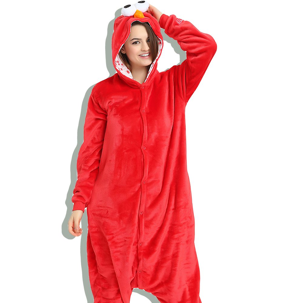 Red Sesame Street Elmo Onesies Animal Cosplay Costume Pajamas Adults One  Piece Pyjamas Hooded Sleepwear d760c2836