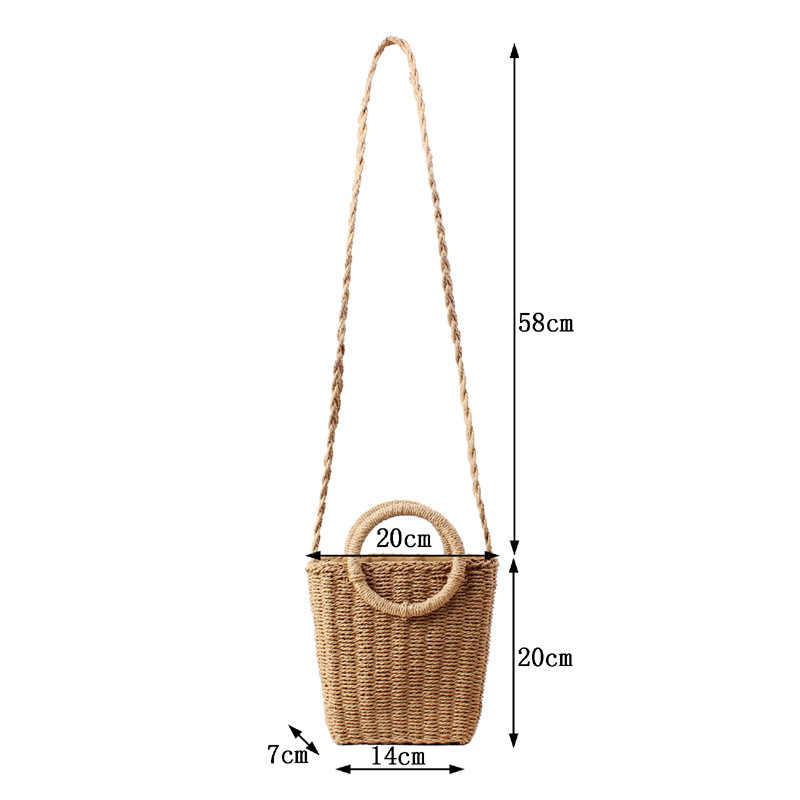 2019 Pequenos Sacos De Palha para As Mulheres Saco Messager Saco de Papel Corda Artesanal de Vime Verão Praia Boho Bolsas Saco Caixa de Bali corda Perto