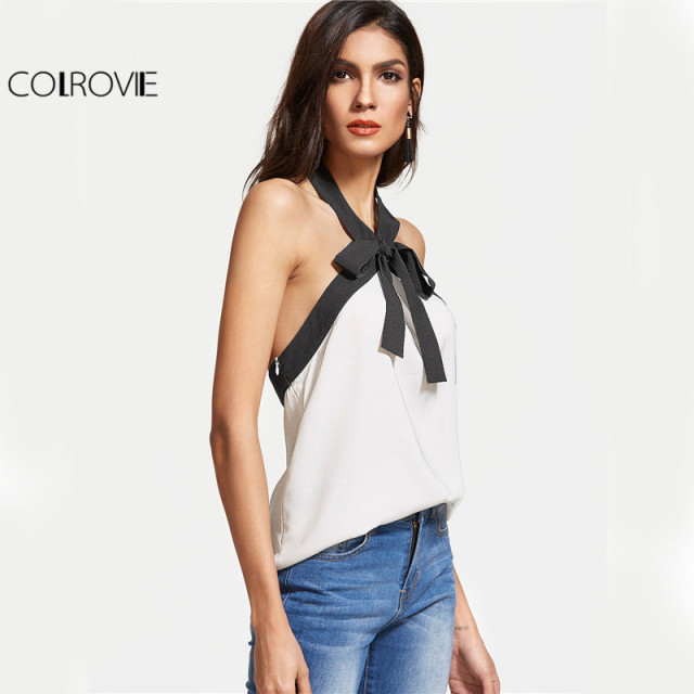 COLROVIE Bow Tie Halter Top Women White Contrast Sexy Backless Casual Slim Cami Tops 2017 New Fashion Elegant Summer Camisole