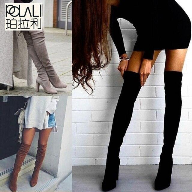 Polali 크기 34-43 2018 새 신발 여성 부츠 블랙 무릎 부츠 섹시한 여성 가을 겨울 레이디 허벅지 높은 부츠