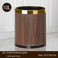 Metal Trash Can , Wood Grain Waste Bin, Double Layer Trash Bins Home Kitchen Hotel Open Top Floor Stand Wastebasket without Lid
