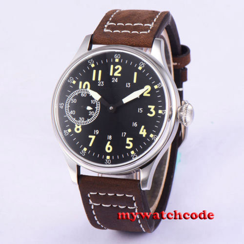 цена на 44mm Corgeut sterile black dial luminous marks Asian 6497 hand winding movement Mechanical mens watch relogio masculino