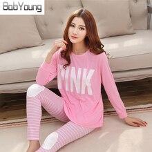 BabYoung 2017 Casual Women Pajamas Set Cartoon O Neck Long Sleeve Pyjamas For Women Summer Nightwear