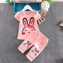 0-4 Age Summer New brand 2016 Cartoon Girls Clothing Set Cotton Printing Cute Rabbit Bow Tshirt + Short Pants Sport Clothes