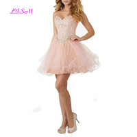 Short Lace Bodice Prom Dress Juniors Layered Tulle Homecoming Dresses Sweetheart Sleeveless Beaded Crystals Party Gowns 2019