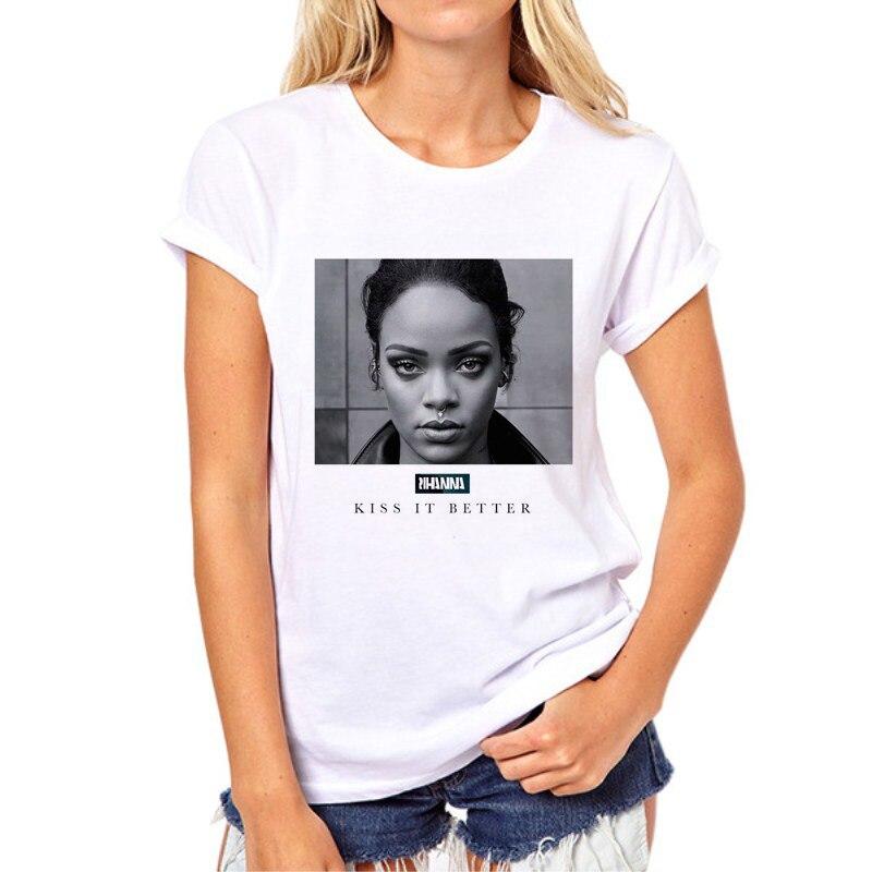 2018 New fashion women 3d character t shirts Rihanna t shirt Funny punk printed feminine sexy