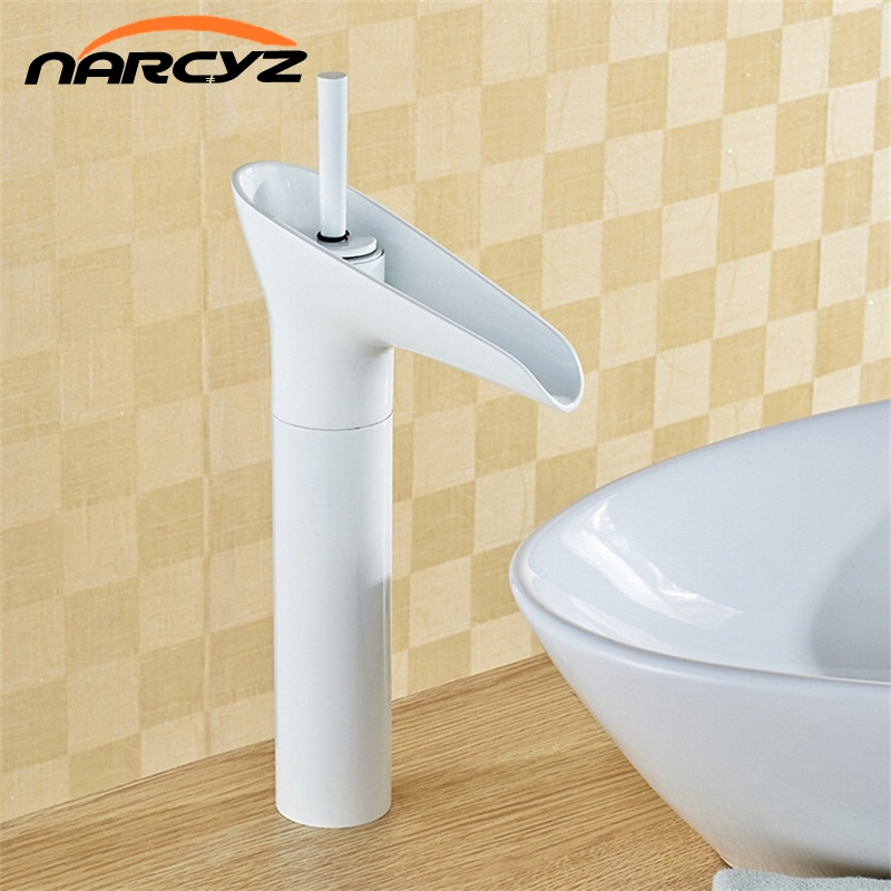 White painted Deck Mount Waterfall Bathroom Faucet Vanity Vessel Sinks Mixer Tap Cold And Hot Water Tap 8007W kemaidi good quality deck mount vanity vessel sinks mixer tap cold and hot water faucet waterfall bathroom faucets