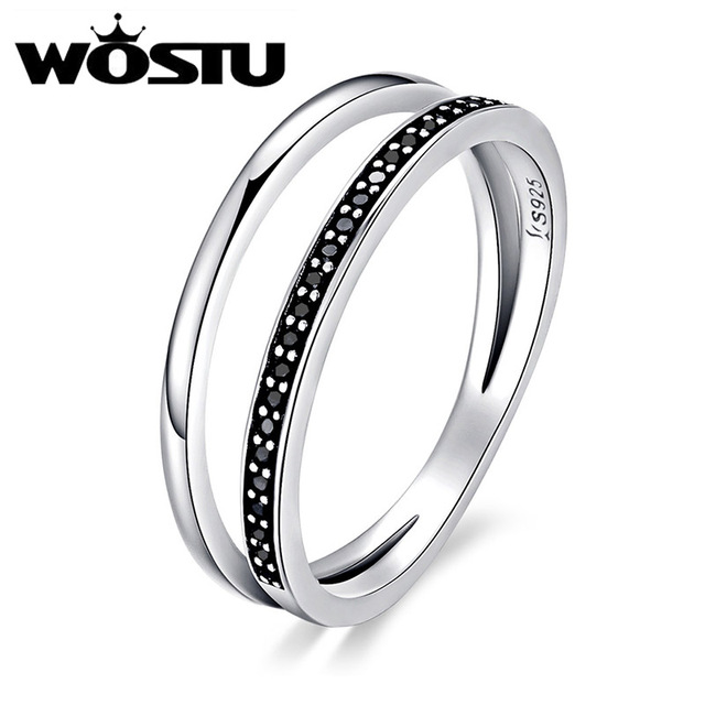 Christmas WOSTU New Fashion 100% 925 Sterling Silver Black & White Double Layers
