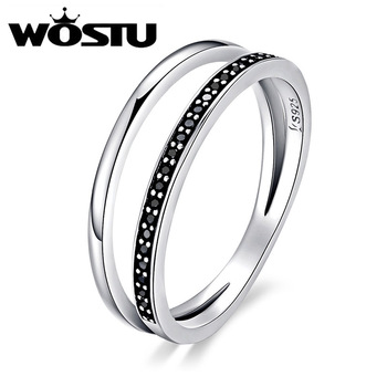 See More Christmas WOSTU New Fashion 100% 925 Sterling Silver Black   White  Double Layers Rings For Women Luxury S925 Jewelry BKR082 88b7e5bcf134