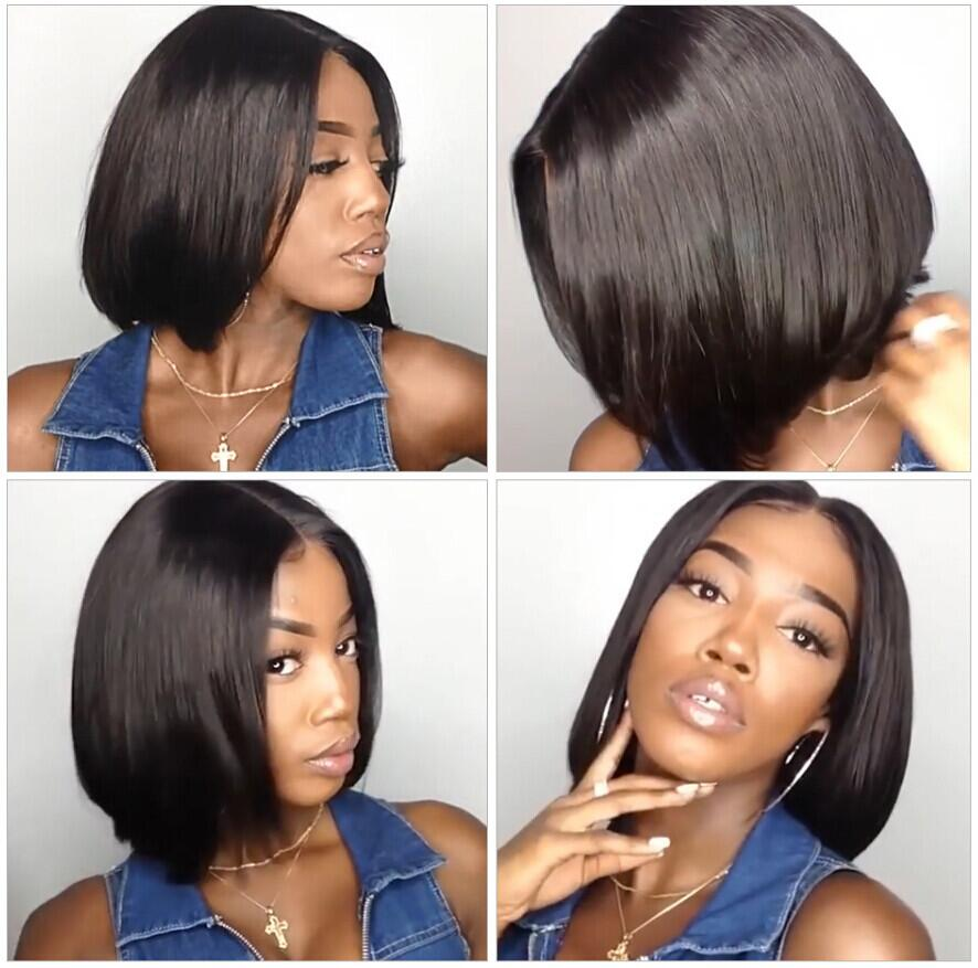 Sapphire Lace Front Human Hair Wigs Brazilian Bob Wig with Pre Plucked Hairline Lace Wig For