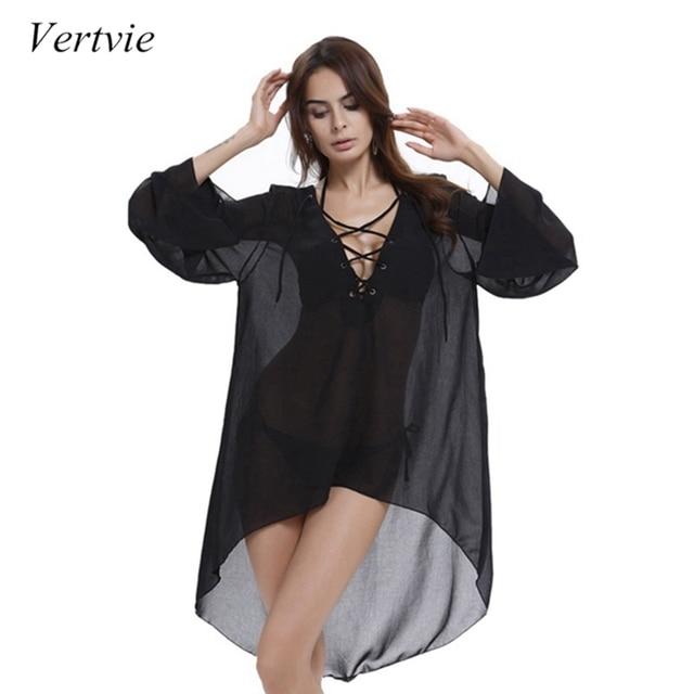 Vertvie Chiffon Saida De Praia Sexy Beach Wear Cover Up Women Pareo