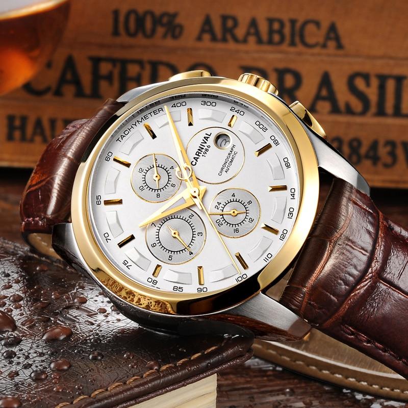 Carnival Mechanical Watch Men Multifunctional Sapphire date-day Water Resistant Leather Strap Men's Business Wrist watch fashionable water resistant glow in dark wrist watch black white 1 x lr626