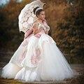 Princesa Bordado vestido de Baile Vestidos Pageant Para Meninas Glitz 2017 Personalizado Rosa Crianças Vestidos de Noite Com Bow flower girl Dresses