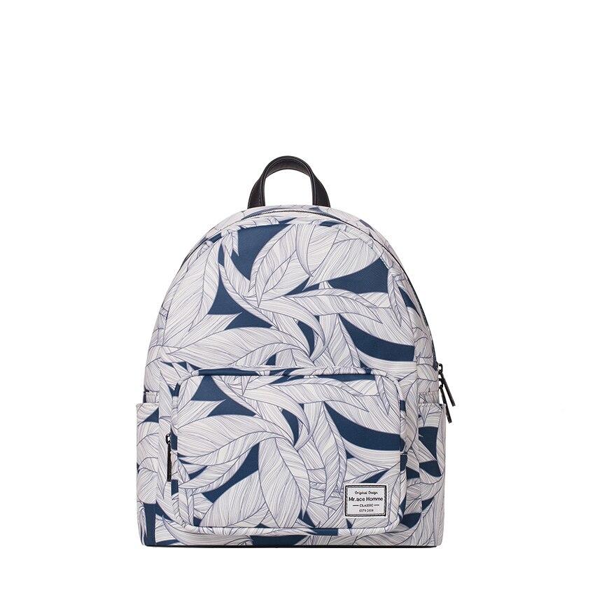 Original print travel Laptop backpack women embossing small leather backpack multi-functional waterproof for school kids