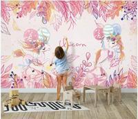 WDBH Custom photo 3d wallpaper Pink Unicorn Children's Room wallpaper for walls 3 d home decor background interior for home
