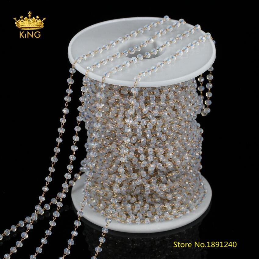 """5 Strads Handmade Glass Bead Beaded Chains Faceted Neckalce Bases Gunmetal 39.3/"""""""
