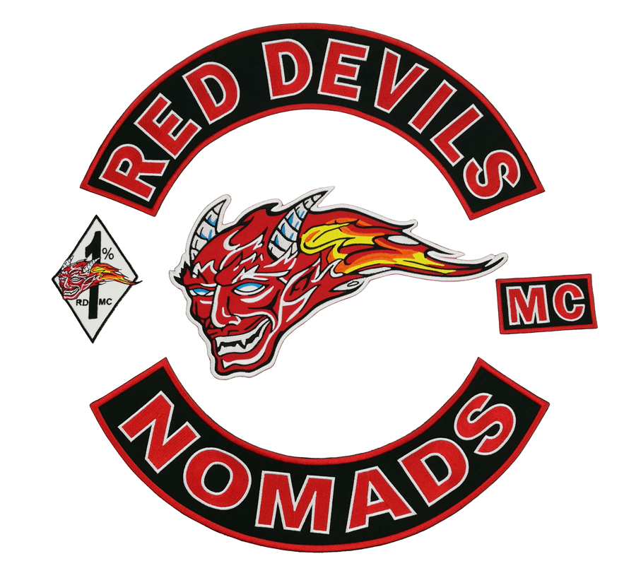 New Arrival 5pcs Set RED DEVILS EMBROIDERY BIKER PATCH Iron On Jacket Motorcycle Patch Large Size