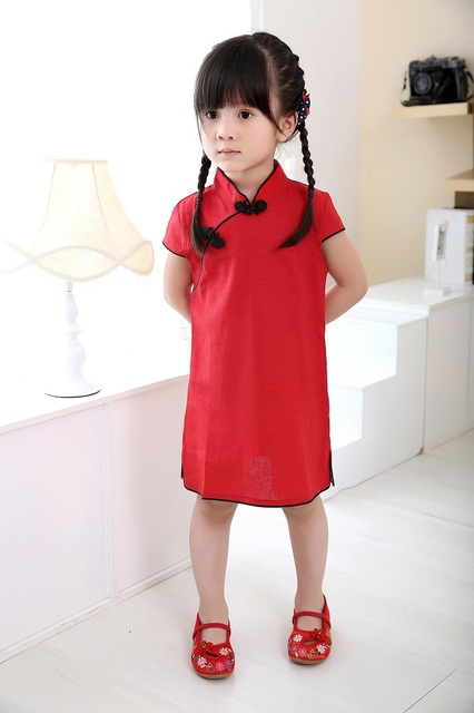 65a1ad663a7c Chinese New Year Baby Girls Chi-Pao Dress Kids Traditional Qipao Candy  Solid Children Cheongsam Linen Girl Clothes Jumper Blouse