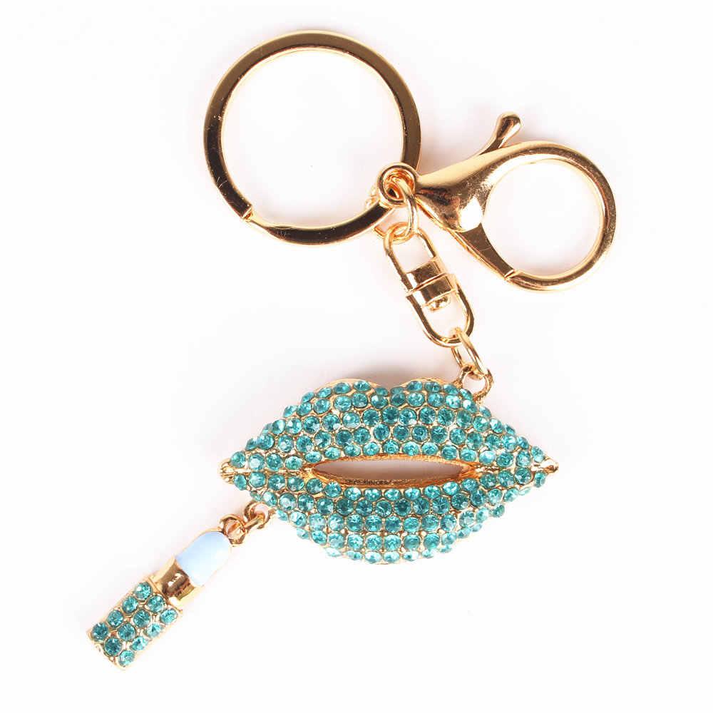 Синий кулон для помады Подвеска со стразами кристалл брелок Аксессуары для сумочки кошелек Свадебная вечеринка подарок Любителя