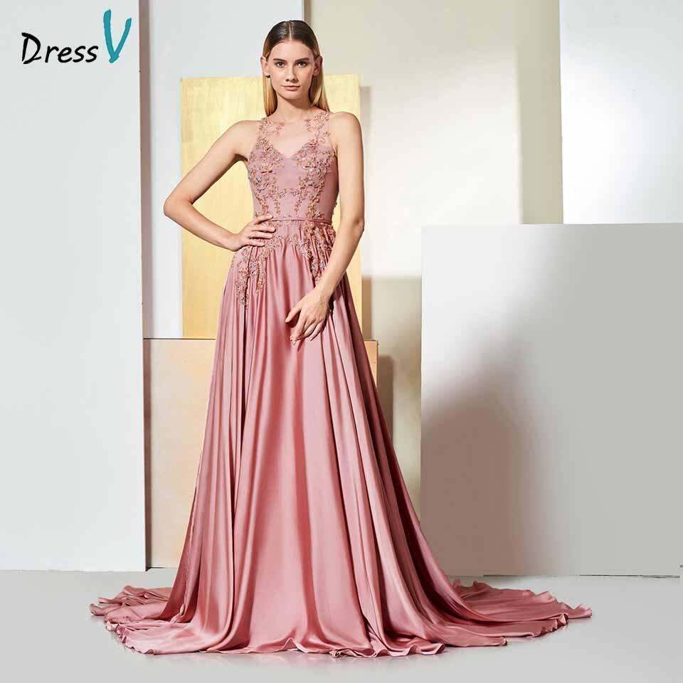Dressv Evening Dress Scoop Neck Sleeves Appliques Beaded Button Floor-length Wedding Party Formal Dress Evening Dresses