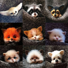 Cute Animals Wool Finished Brooch Dog Hair Fox Squirrel Cat Decoration Personal Exclusive MAO sticky