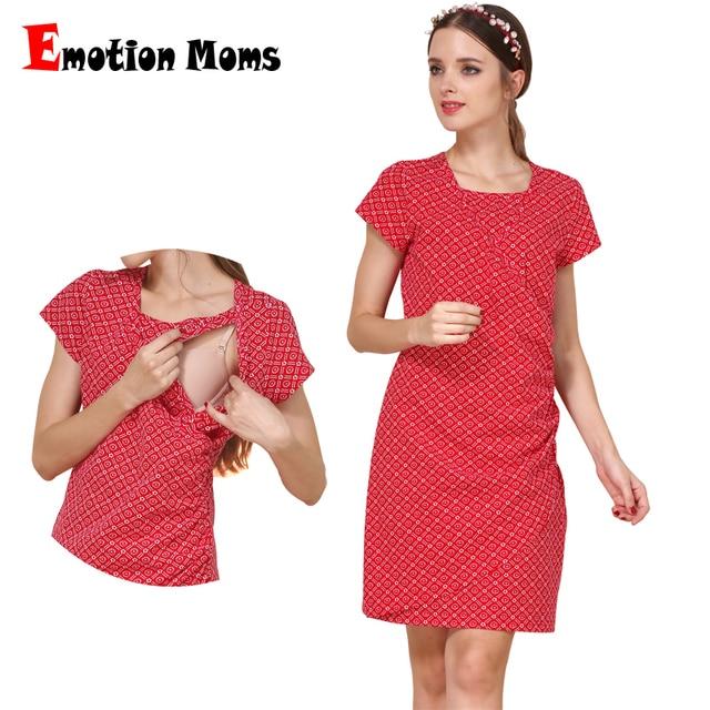 61f4698df Emoción Moms manga corta Maternidad ropa verano vestido de lactancia  Vestidos para mujeres embarazadas Maternidad Vestidos