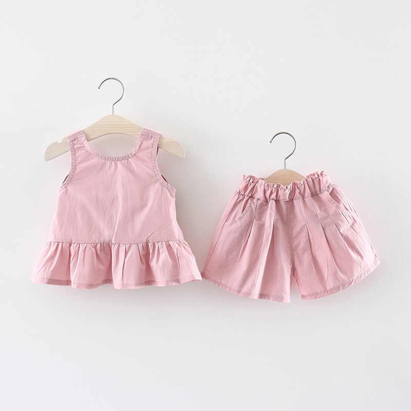 2019 verano bebé niñas sólido sin mangas espalda arco chaleco blusa Tops + Pantalones cortos niños 2 piezas trajes princesa Linda conjuntos de ropa