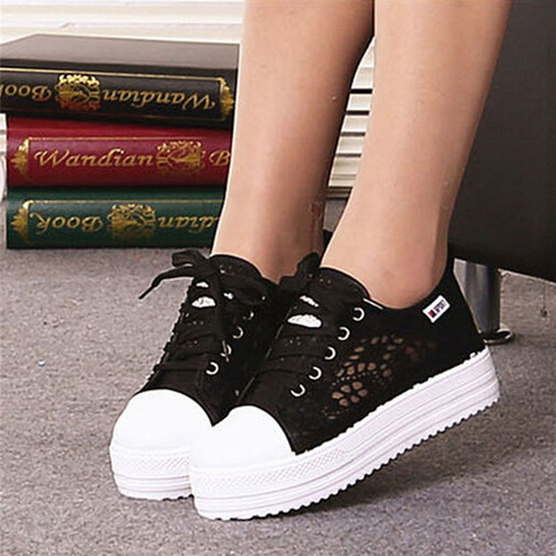 Summer 2017 Women Shoes Casual Cutouts Lace Canvas Hollow Breathable Platform Flat Shoes summer women shoes casual cutouts lace canvas shoes hollow floral breathable platform flat shoe sapato feminino lace sandals