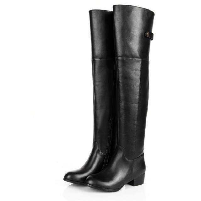 468f3024c3007 placeholder Genuine Leather Women Winter Long Boots Over The Knee Buckle  Low Heel Boots 2018 New Fashion