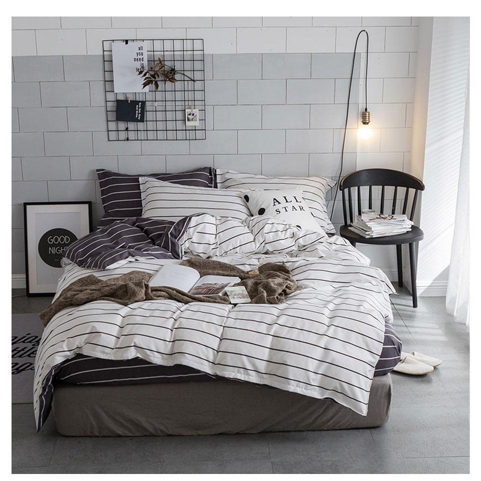 ̀ •́ Slowdream blanco y negro Stripes Ropa de cama set lujo luz ...