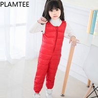 PLAMTEE Overalls For Children Down Cotton Warm Boy Jumpsuit Winter Autumn 2017 Girls Clothes Solid Color Zipper Kids Overall