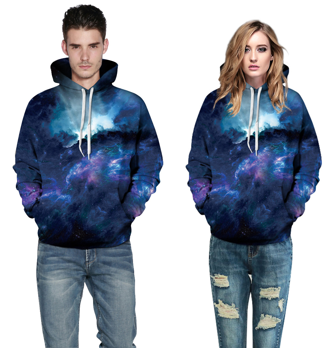 New Style Creative Digital Printing Men and Women Sweatshirt Starry Sky Pattern Printing Pullovers Loose Large Size Casual Wear