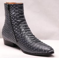 New Arrival men leather boots snakeskin print Leather ankle boots high top zip men boots Chelsea boots