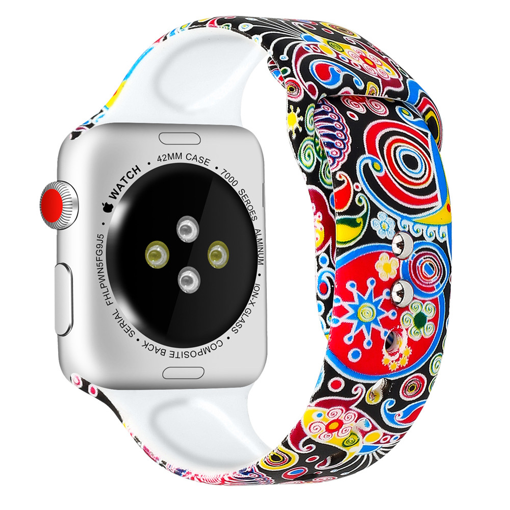 Silicone Strap For Apple Watch band 44mm 40mm pulseira iwatch 42mm 38mm Printing women bracelet apple Watch series 5 4 3 2 1 2