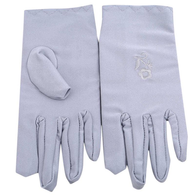 Las mujeres verano protector solar guantes las mujeres Spandex protector solar guantes mujer corta de cuidado de la piel elástico guantes