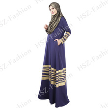 050 New l traditional muslim abaya women black abaya with golden stripe Fashion Long Sleeve Maxi islamic clothing sale caftan