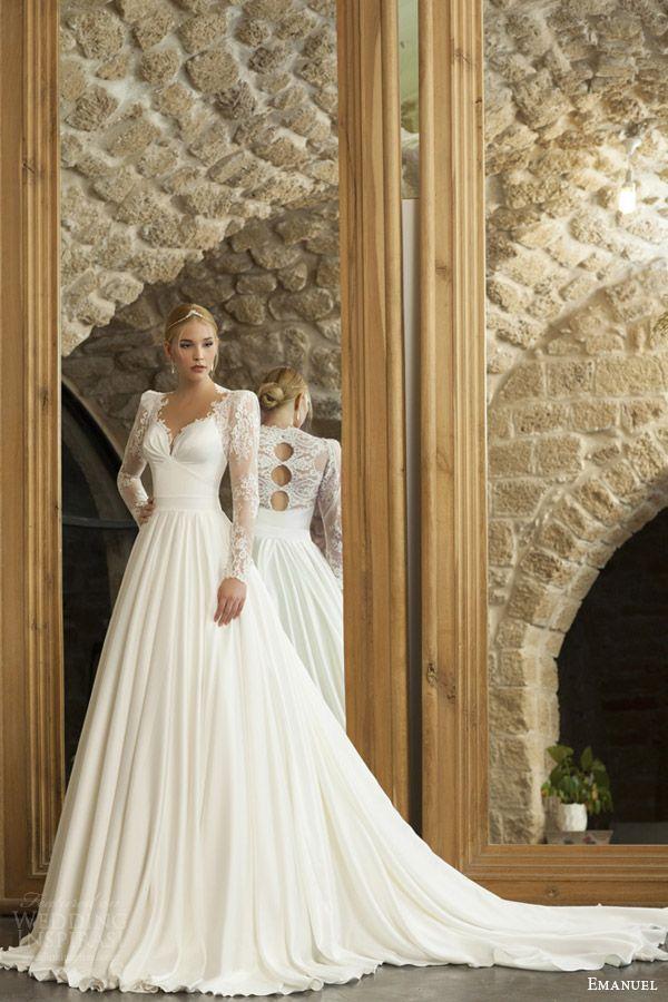 Emanuel Haute Couture Wedding Dresses 2017 Long Sleeves Vintage