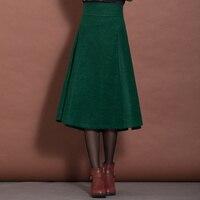 10 Colors Winter Skirt Women S Clothing Vintage Pleated Skirt High Waist Saias Femininos Elegant Woolen