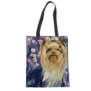 FORUDESIGNS Cute Yorkshire Shopping Bags Daily Use Casual Totes Reusable Grocery Bags Ecobag Canvas Handbag Women Shoulder Bags(China)