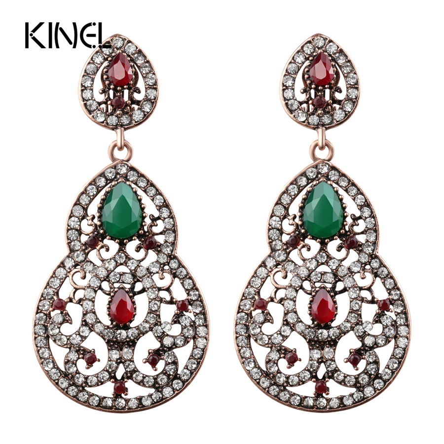 Unique 8 Shape Earrings For Women Turkish Jewelry Ancient Gold Color Crystal Long Drop Earrings Party Luxury Gift Accessories