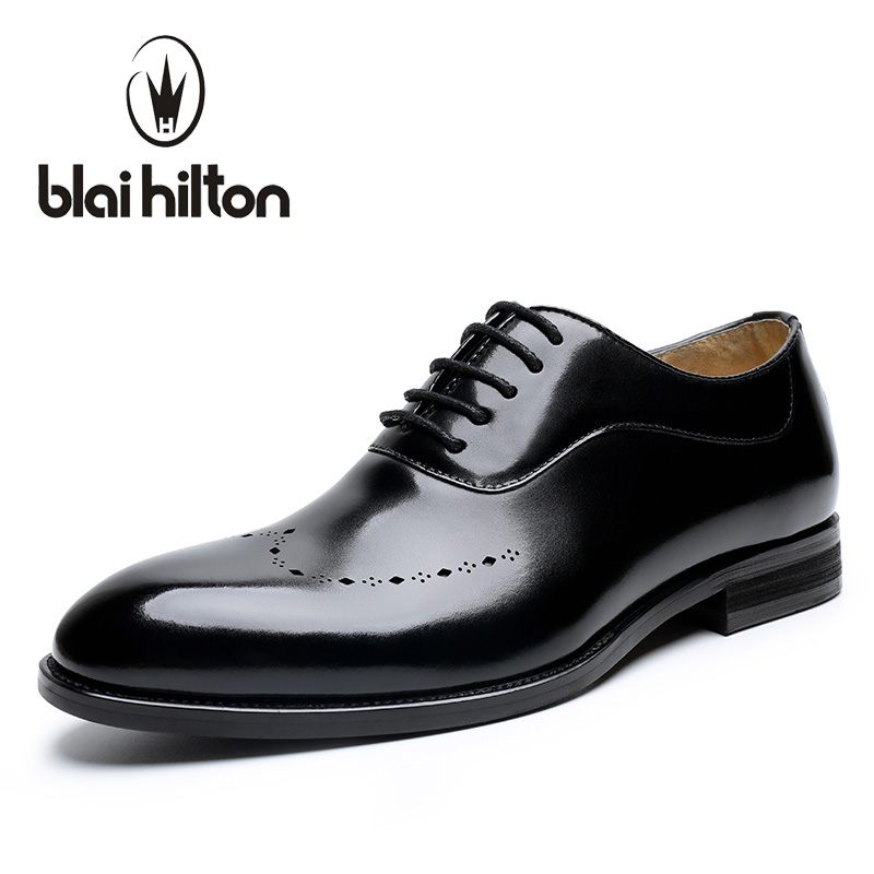 Blaibilton Glossy Carving Breathable 100% Genuine Leather Luxury Oxfords Casual Men Shoes Dress Business Mens Designer SD6182 blaibilton formal dress men shoes oxford 100