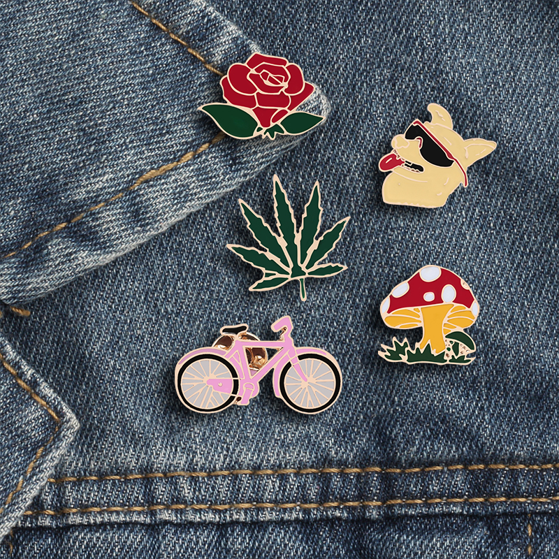 Jewelry & Accessories Fashionable Rose Brooches For Women Cool Dog Leaf Mushroom Bicycle Pin Men Lapel Flower Accessories For Dress Pins Corsage Metal