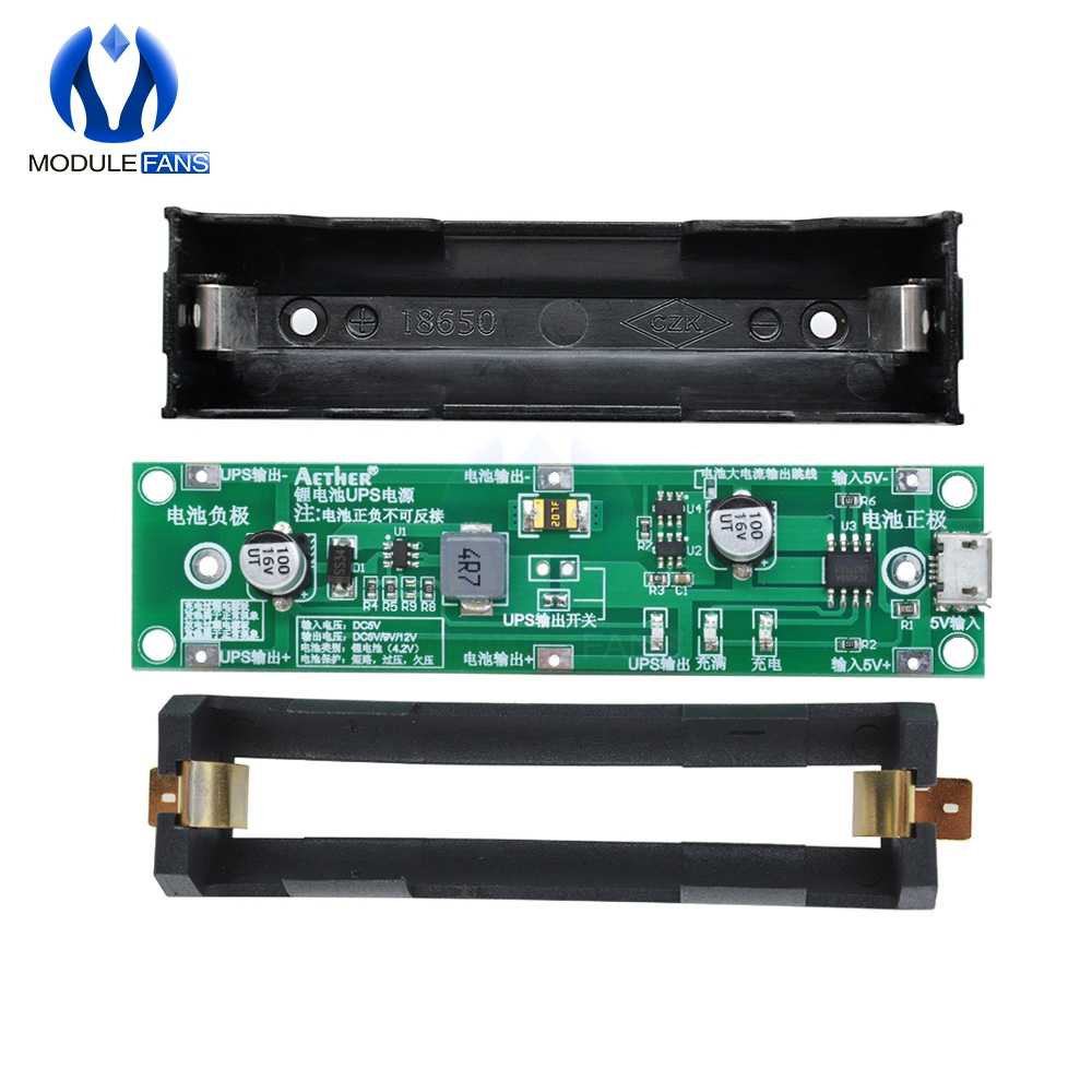 Step Up 5V 18650 Lithium Battery Boost Module Micro USB Charge Discharge the Same Time UPS Protection Board Circuit Li-ion