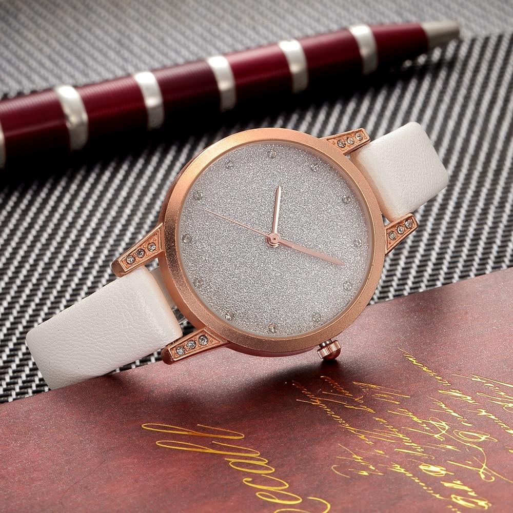 2018 Fashion Women Leather Strap watches sport Casual Analog Quartz Watches Business Elegant Round Shape Wristwatch l 10 women s stylish petals style bracelet quartz analog wristwatch golden white 1 x lr626