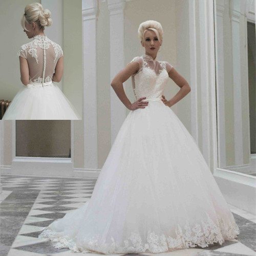 Sophisticated Mandarin Collar Princess Long White Lace Appliques Tulle  Wedding Dresses 2014 Sheer illusion Back Big Train 3569b5796746