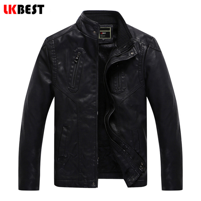LKBEST 2017 fashion men Leather Jacket Brand Black Short Leather Coat punk PU motorcycle leather jacket casual outwear (PY25)